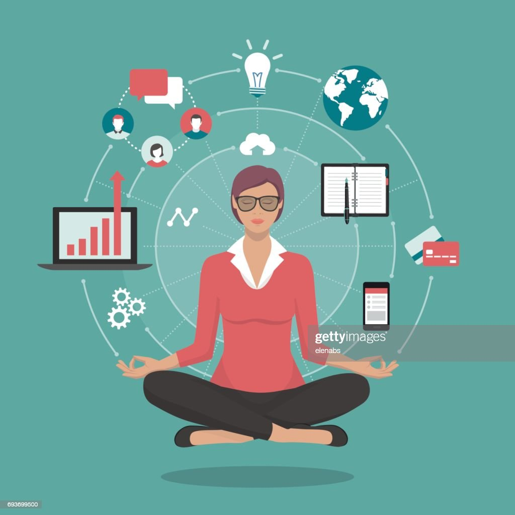 Businesswoman practicing meditation