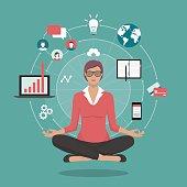 Businesswoman practicing meditation