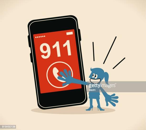 ilustrações, clipart, desenhos animados e ícones de empresária pressionando (empurrando, comovente, cliques) telefone botão para chamar o 911, chamada de emergência - serviço de emergência e resgate