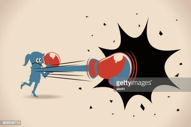 illustrations, cliparts, dessins animés et icônes de femme d'affaires (femme, fille) de poinçonnage avec gant de boxe - gant de boxe