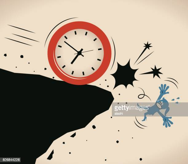 businesswoman (woman, girl) pushed off a cliff by a big time clock (falling off a cliff), worry about time passing away - crag stock illustrations, clip art, cartoons, & icons
