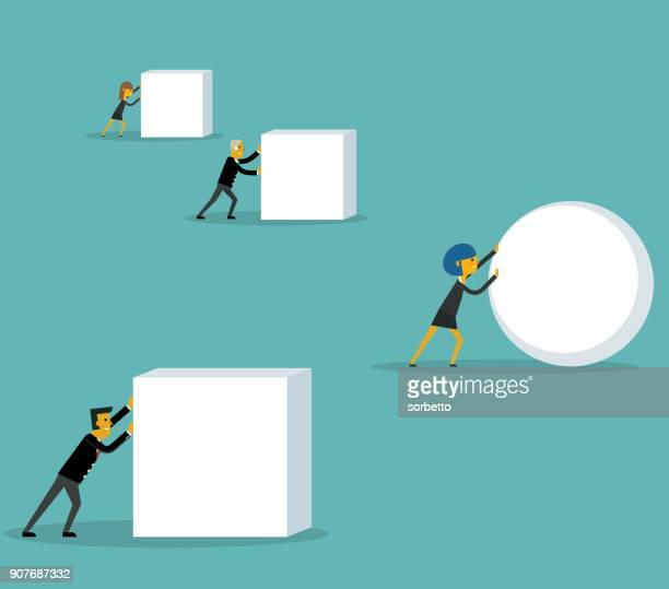 businesswoman pushing a sphere - drive ball sports stock illustrations, clip art, cartoons, & icons