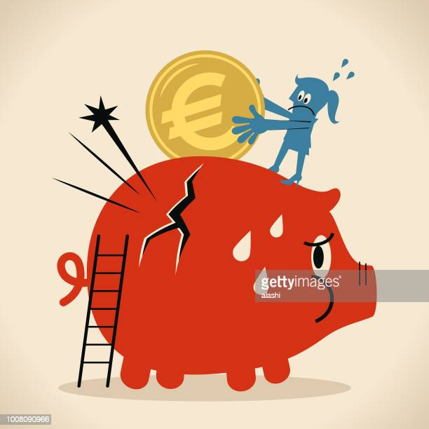 businesswoman putting a large euro sign coin currency into a piggy bank with cracks - broken stock illustrations, clip art, cartoons, & icons