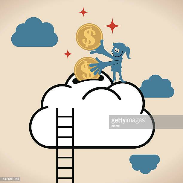 Businesswoman putting money (Dollar sign coin) into cloud piggy bank
