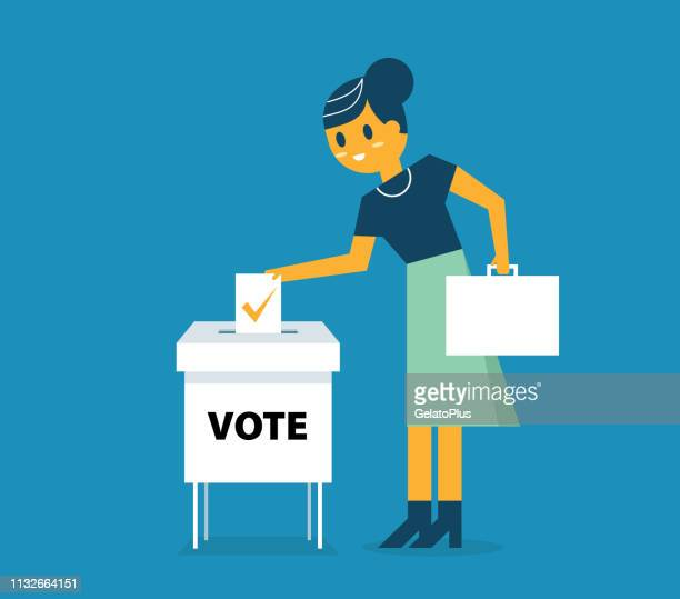 businesswoman putting paper in the ballot box - president stock illustrations, clip art, cartoons, & icons