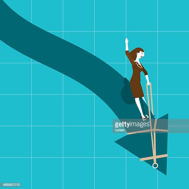Businesswoman Riding Downtrend (Arrow) | New Business Concept