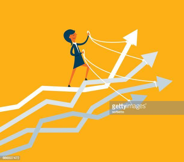 businesswoman riding many arrows - holding stock illustrations, clip art, cartoons, & icons