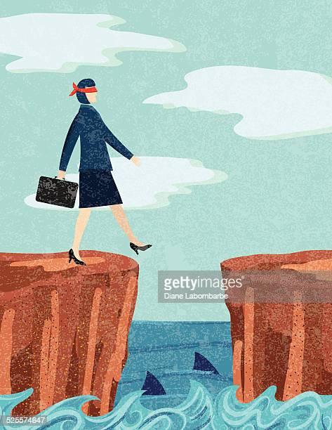 ilustraciones, imágenes clip art, dibujos animados e iconos de stock de empresaria arriesgada concepto de negocios - ojos tapados
