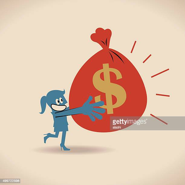 Businesswoman Running And Carrying Bag Of Money With Dollar Sign