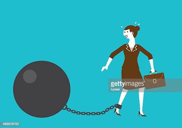 illustrations, cliparts, dessins animés et icônes de femme d'affaires avec ballon de l'affronter les mains liées par un fer à repasser et d'une chaîne/new biz - confinement clip art