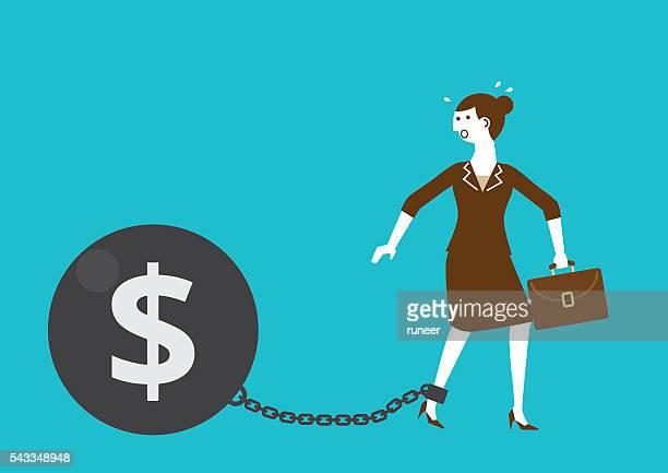 illustrations, cliparts, dessins animés et icônes de femme d'affaires de l'affronter les mains liées par fer ballon avec dollar - confinement clip art