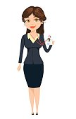 Businesswoman showing her badge. Cute cartoon character. Vector illustration isolated on white background