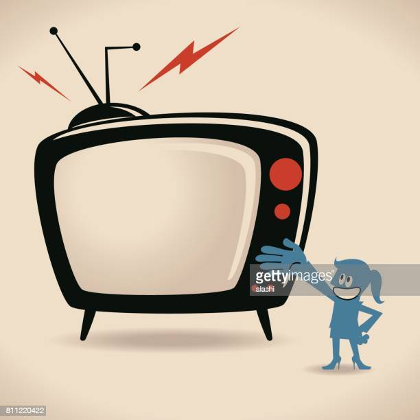 businesswoman (host, woman, girl) showing tv shows - game show host stock illustrations