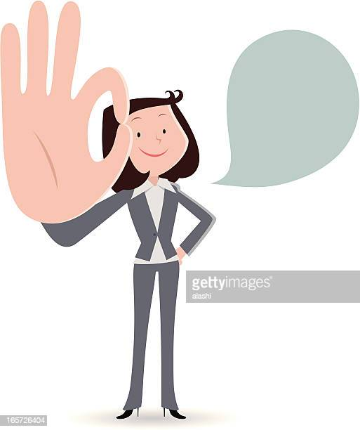 businesswoman smiling and gesturing ok hand sign - hand on hip stock illustrations, clip art, cartoons, & icons
