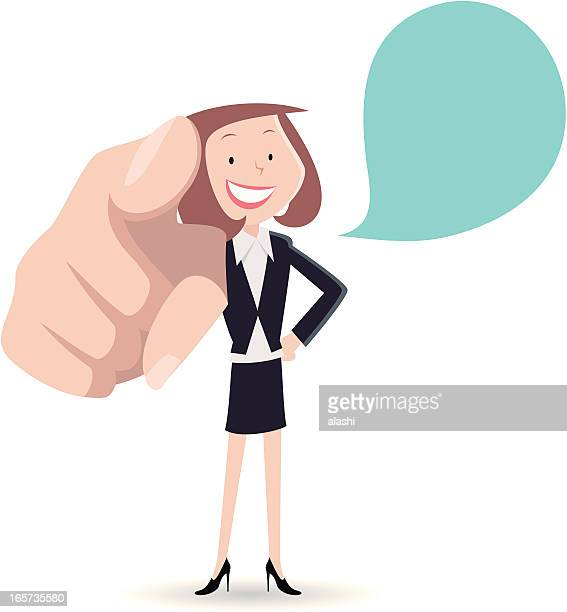 Businesswoman smiling and pointing at you
