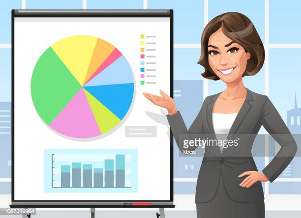 businesswoman standing at a flipchart in the office - beautiful woman stock illustrations