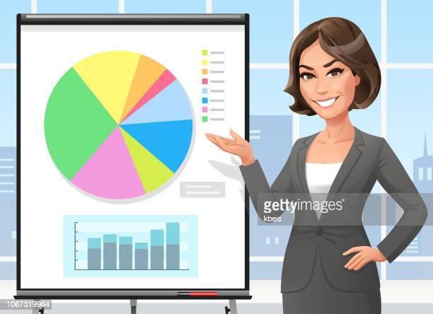 geschäftsfrau, stehend auf einem flipchart im büro - attraktive frau stock-grafiken, -clipart, -cartoons und -symbole