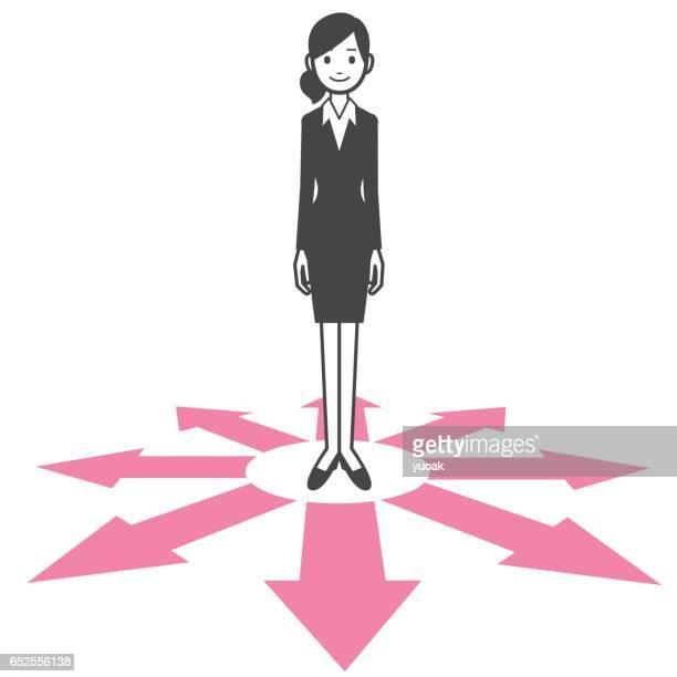 ilustrações, clipart, desenhos animados e ícones de empresária em pé na encruzilhada maneira - encruzilhada