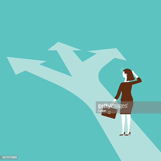 businesswoman standing at the juncture | new business concept - thoroughfare stock illustrations, clip art, cartoons, & icons