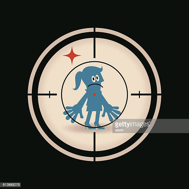 businesswoman standing in the crosshairs center rifle (gun) sight - sniper stock illustrations, clip art, cartoons, & icons
