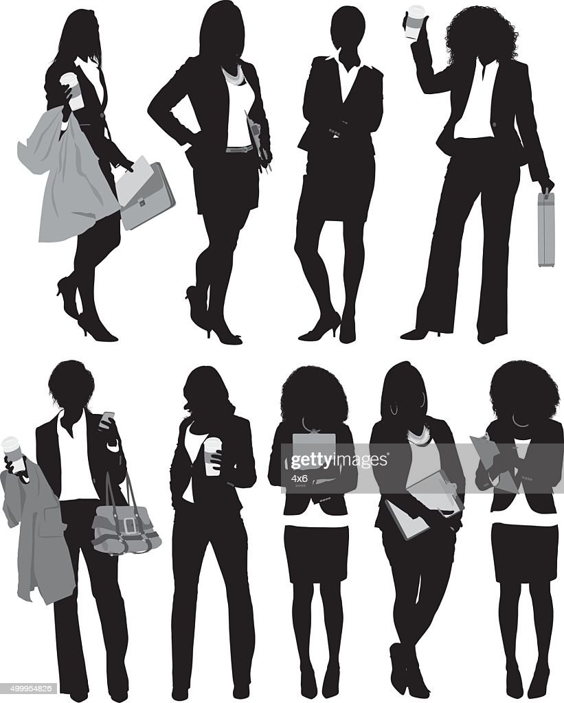 Businesswoman standing in various actions