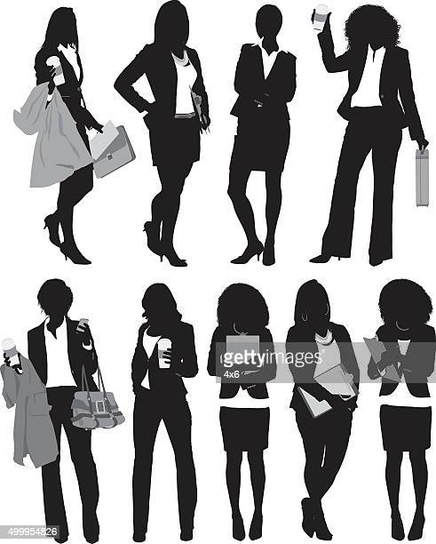 Businesswoman standing in various actions