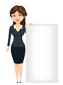 Businesswoman standing near big blank sign. Cute cartoon character. Vector illustration isolated on white background