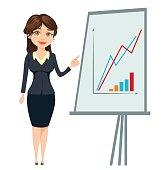Businesswoman standing near board with graph. Cute cartoon character. Vector illustration isolated on white background