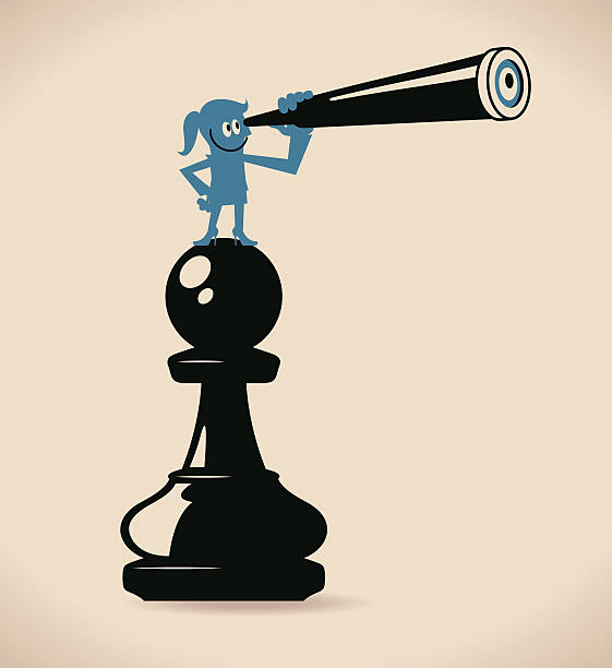 Businesswoman Standing On A Pawn Chess, Looking Through A Telescope Wall Art
