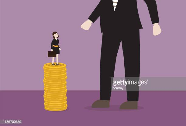 businesswoman standing on a stack of coin looking a bigger businessman - wage gap stock illustrations