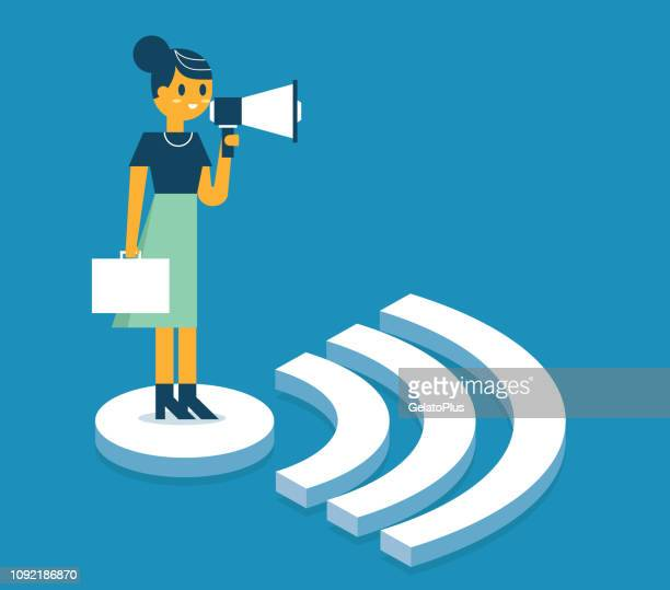 Businesswoman standing on WIFI