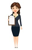 Businesswoman standing with clipboard. Cute cartoon character. Vector illustration isolated on white background