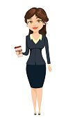 Businesswoman standing with coffee. Cute cartoon character. Vector illustration isolated on white background
