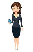 Businesswoman standing with smartphone. Cute cartoon character. Vector illustration isolated on white background