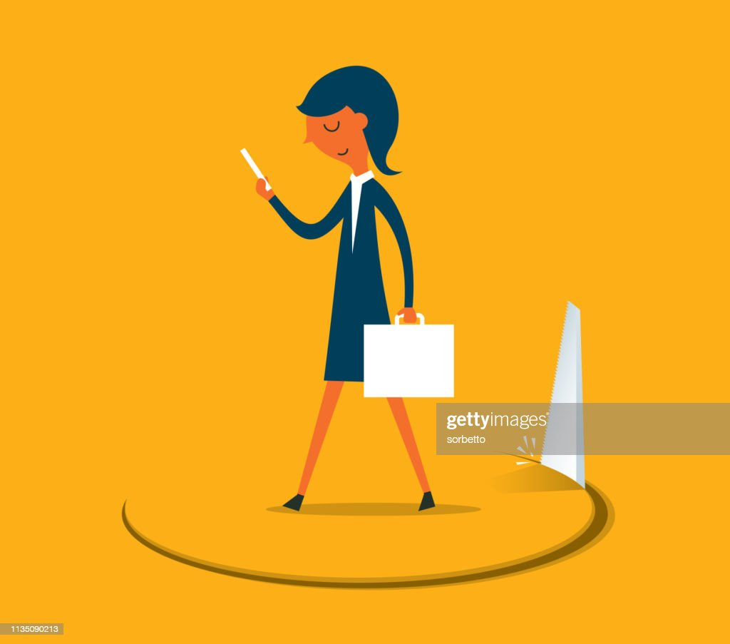 Businesswoman Stands on hole cut by a saw : stock illustration