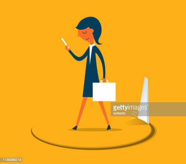 businesswoman stands on hole cut by a saw - occupational safety and health stock illustrations, clip art, cartoons, & icons
