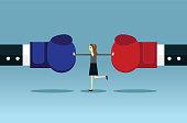 Businesswoman stop conflict