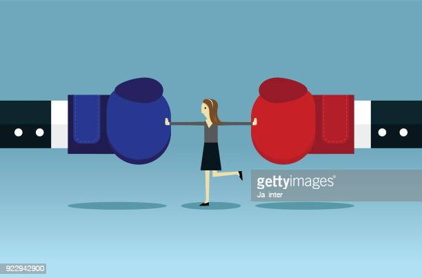 businesswoman stop conflict - mid section stock illustrations