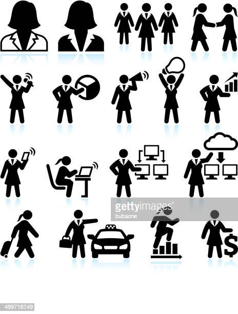 Businesswoman Success black & white royalty-free vector interface icon set