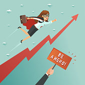 Businesswoman superhero flying to achieve his goal