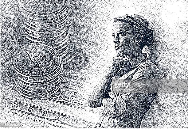 businesswoman thinking about money - spending money stock illustrations, clip art, cartoons, & icons