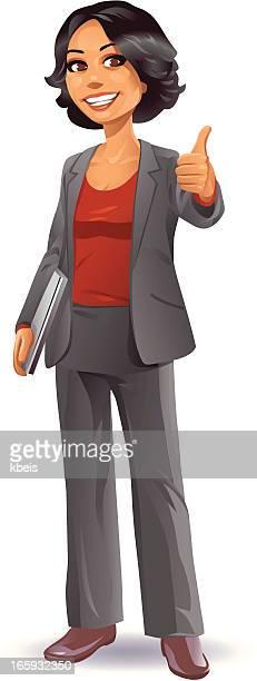 geschäftsfrau daumen hoch - geschäftsfrau stock-grafiken, -clipart, -cartoons und -symbole