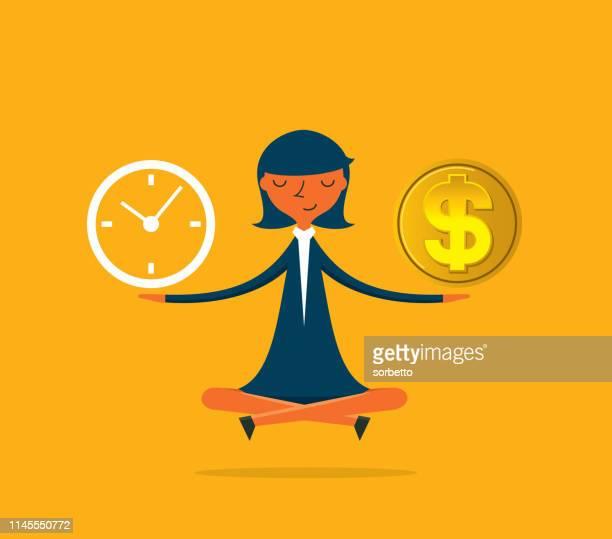 ilustrações, clipart, desenhos animados e ícones de mulher de negócios-tempo é dinheiro - tempo é dinheiro