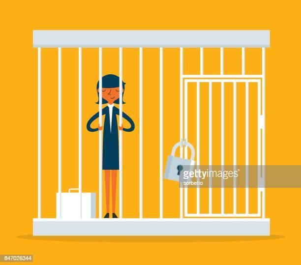 Geschäftsfrau, die in einem Käfig gefangen