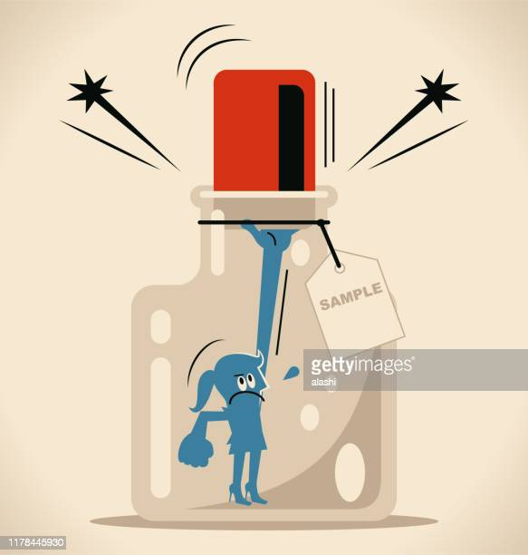 businesswoman trying to escape from a confined space glass bottle with cork (airtight container) and label - cork stopper stock illustrations