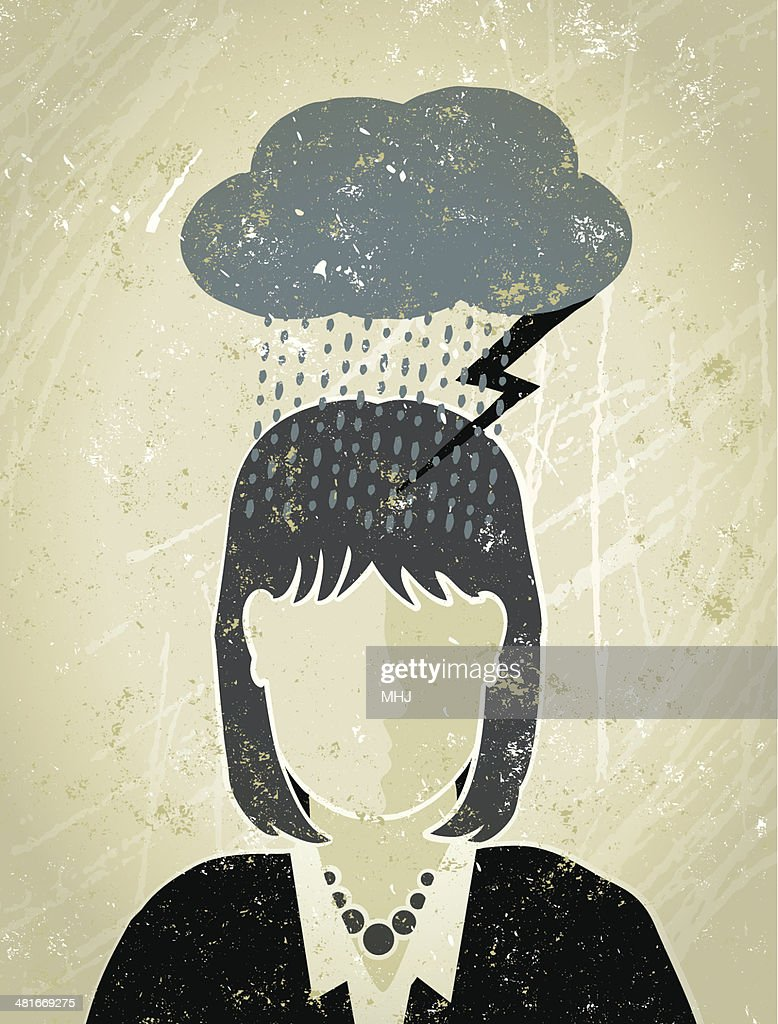 Businesswoman under a Dark Cloud : Vector Art