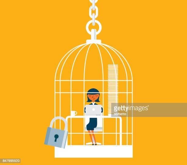 Geschäftsfrau unter im Vogelkäfig