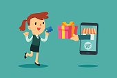 businesswoman use credit card to shoping online
