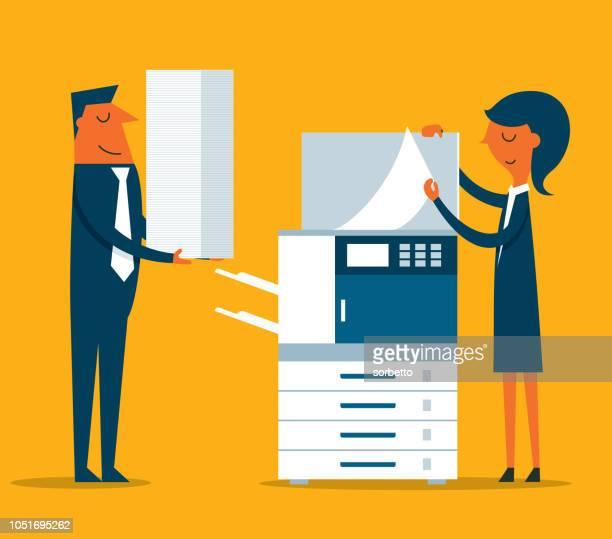 businesswoman using copy machine - photocopier stock illustrations, clip art, cartoons, & icons