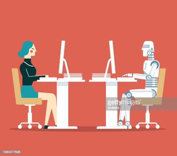 Femme d'affaires vs Robot